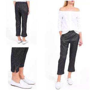 Theory   Thorina Cropped Linen Pant in Tierra Wash